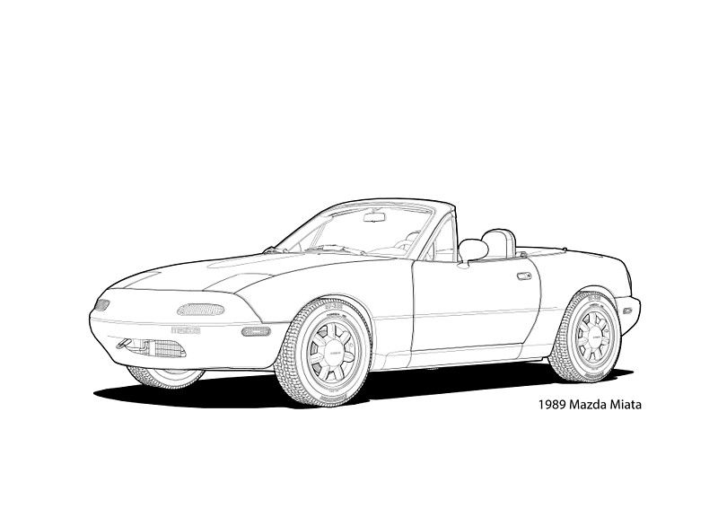 'Mazda MX-5 Miata MK1 Line Illustration' Art Print by