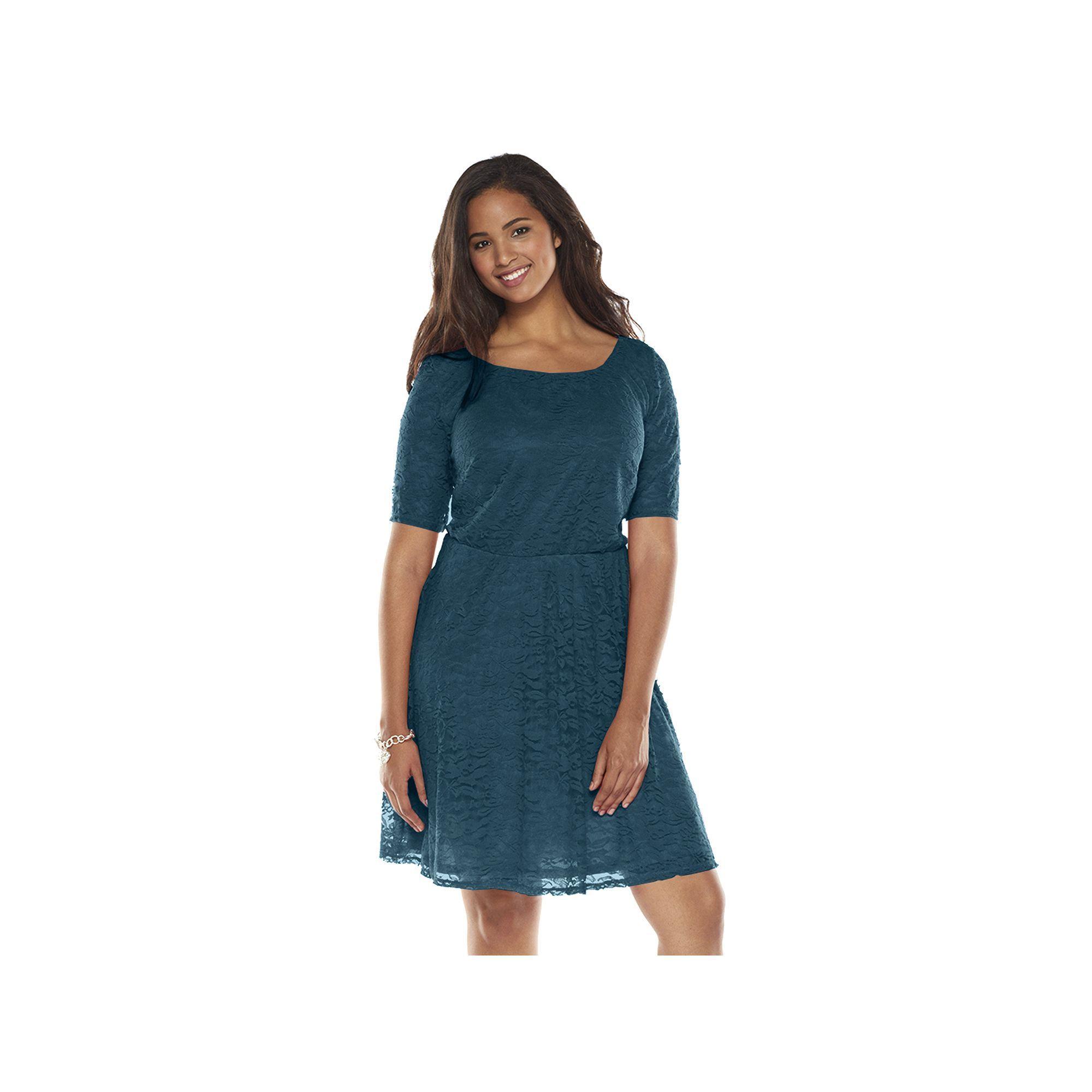 Lace dress pink  Juniorsu Plus Size Wrapper Lace ALine Dress Teens Size XL Brt