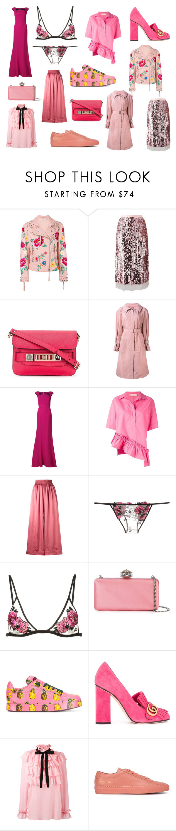 """Trend: Think Pink"" by farfetch ❤ liked on Polyvore featuring P.A.R.O.S.H., Tory Burch, Proenza Schouler, Jil Sander Navy, Roland Mouret, Marni, Forte Forte, Fleur du Mal, Alexander McQueen and Dolce&Gabbana"
