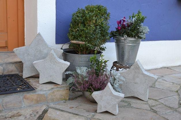 Weiteres betonsterne sterne aus beton garten nr 1 ein designerst ck von flowarts bei - Beton weihnachtsdeko ...