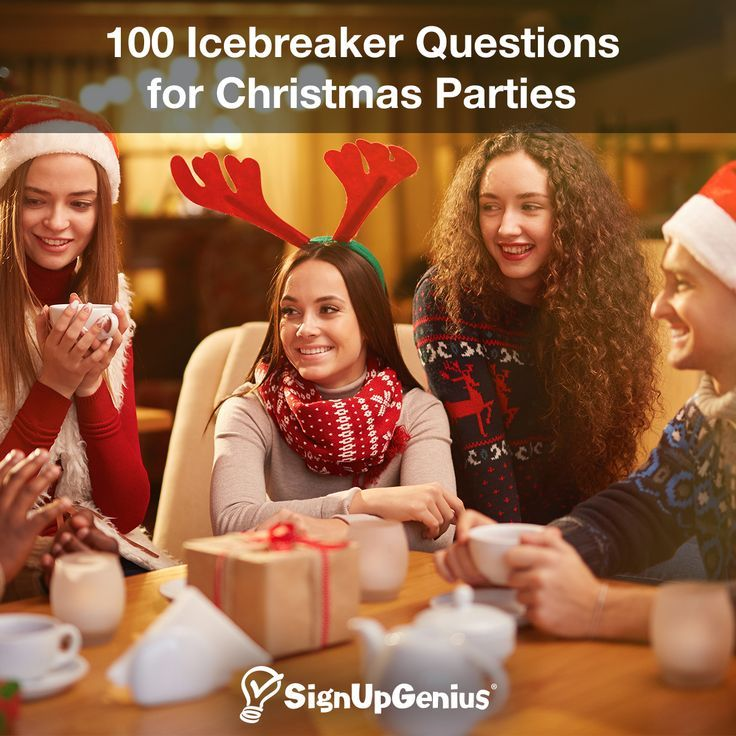 100 Icebreaker Questions for Christmas Parties 100 Icebreakers for Christmas Parties. Start conversations for work, family and kid's parties.