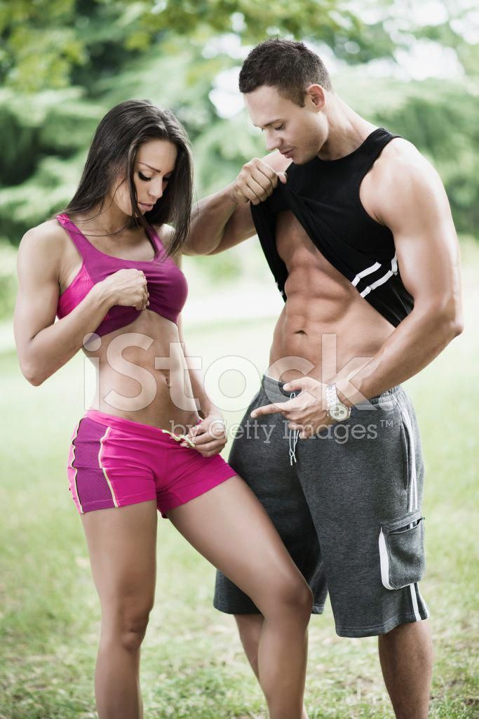Fit Man and Woman Showing Pack Abs AT Outdoor Exercise Stock   man fit - Fitness #and #Pack #Fitness...