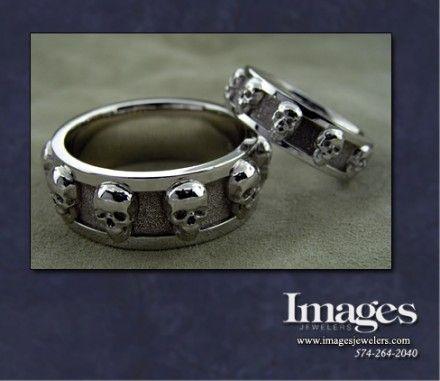 platinum skulls matching wedding set from images jewelers - Skull Wedding Ring Sets