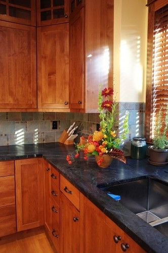 Kitchen Only Have River Rock Granite Cherry Wood Cabinets Craftsman