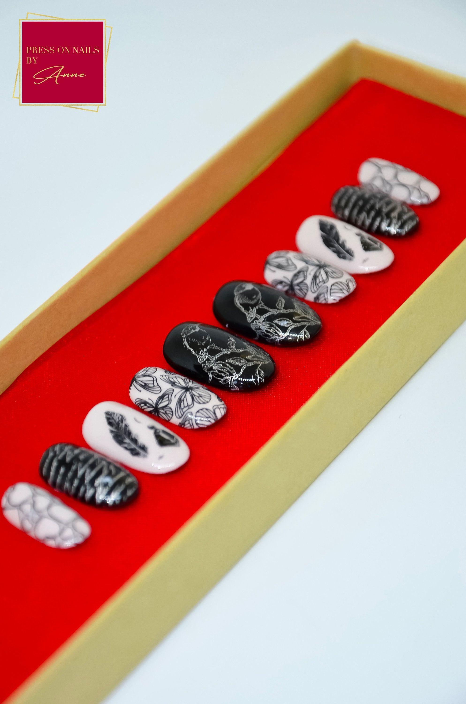 Lovebirds  Creme en zwart  Press on nails  plaknagels  | Etsy