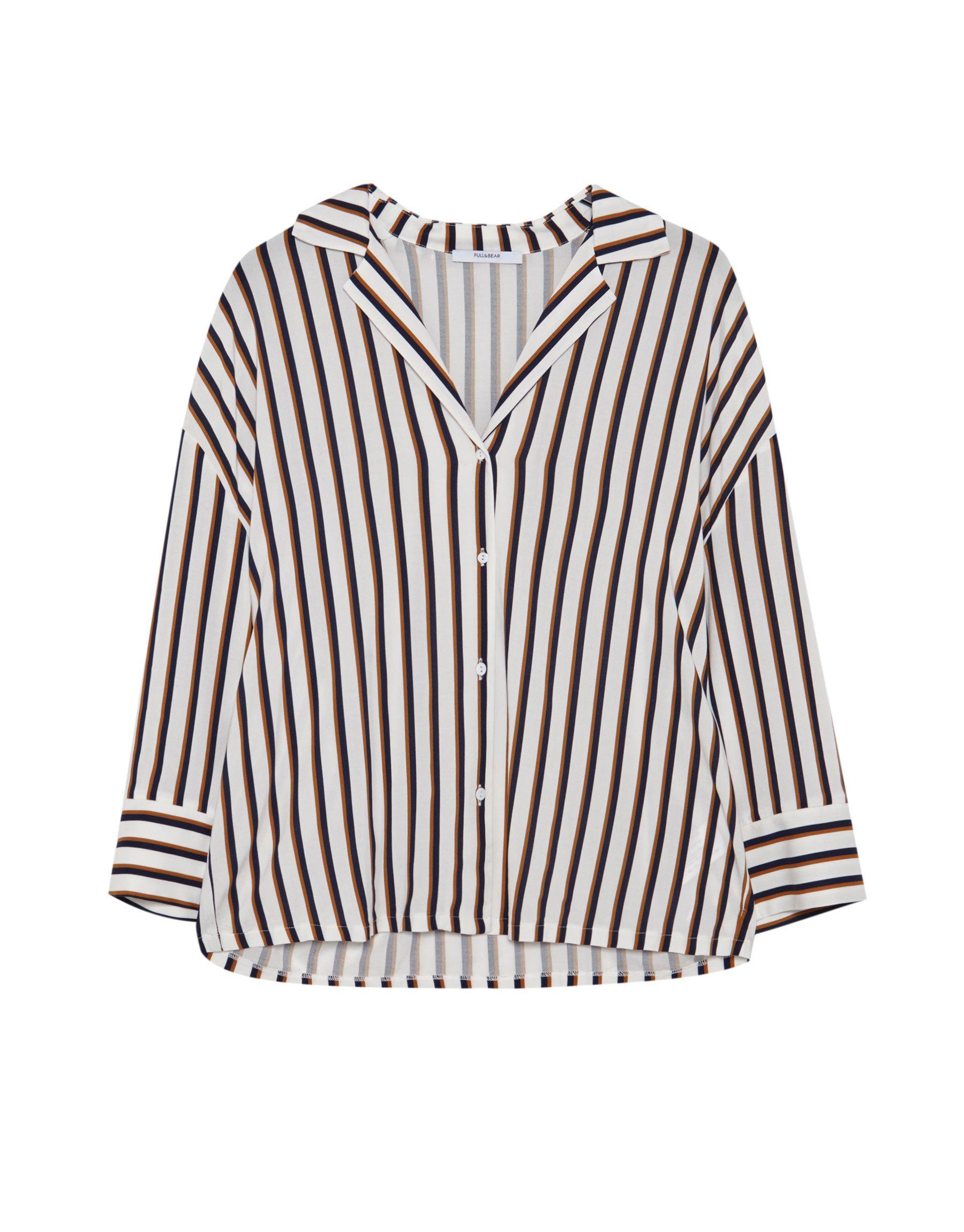 7cb357d3f8 Camisa cuello solapa rayas - Novedades - Mujer - PULL BEAR México ...