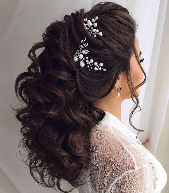 18 Beautiful Wedding Hairstyles Down For Brides And: Beautiful Half Up Half Down Wedding Hairstyle & Best