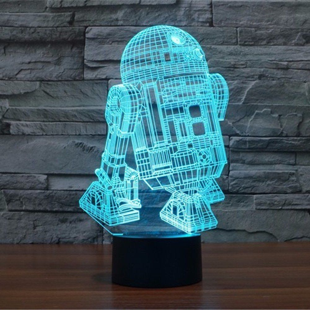 3d Illusion Star Wars R2d2 Acrylic Led Night Desk Lamp Cybercores 3d Led Night Light 3d Led Lamp Color Changing Lights