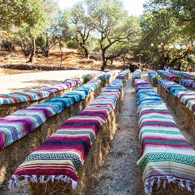 Outdoor Unique Wedding Ideas: Hay Bale Seating For A Colorful Outdoor Wedding