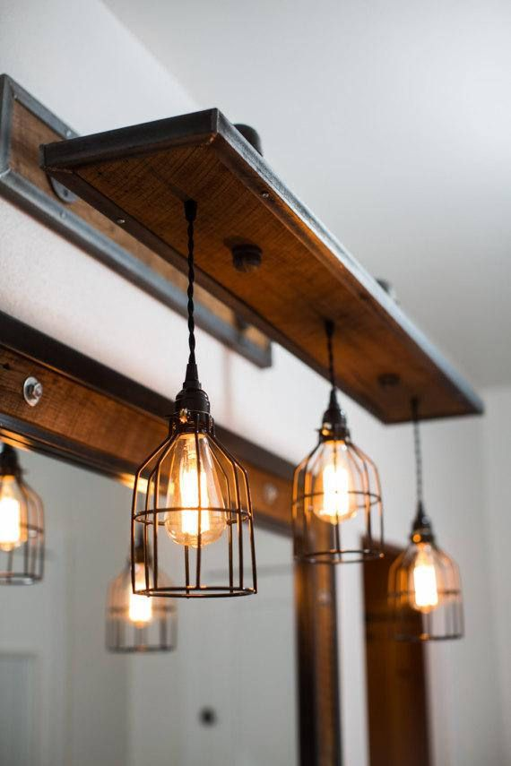 Rustic Industrial Light – Steel and Barn Wood Vanity Light (Cage Shade) w/Bulbs #L1303