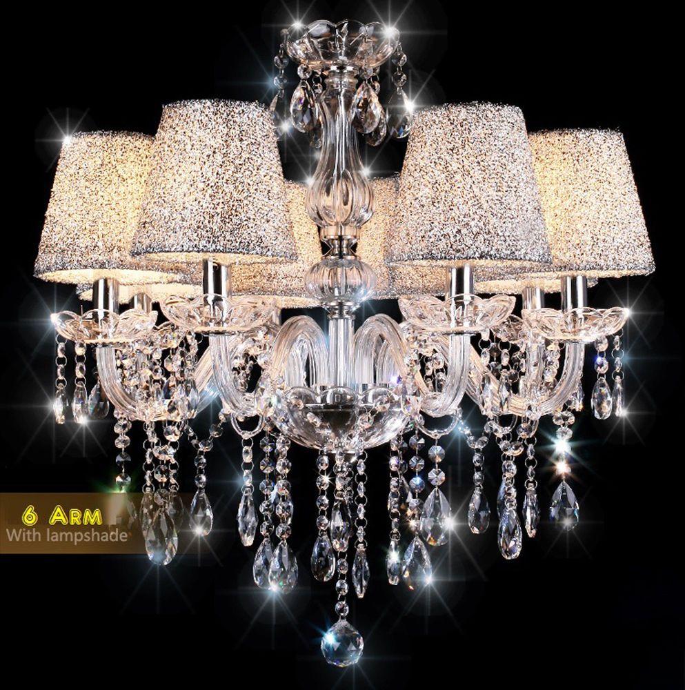6 Fl Kristall Hangeleuchte Kronleuchter Pendelleuchte Deckenleuchte Lampe Kronleuchter Kronleuchter Kristall Beleuchtung Decke