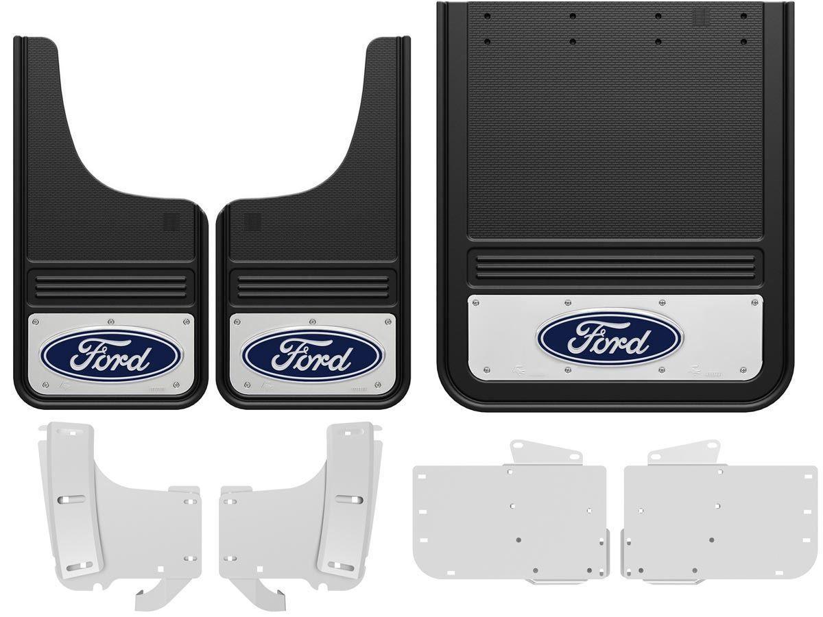 2017 2020 Ford F 350 Blue Oval Gatorback Dually Mud Flap Set
