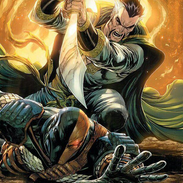 Deathstroke Vs Ra's Al Ghul  Art by @tylerkirkhamart  #Deathstroke #RasAlGhul #DC #DCComics #DCUniverse #Comics #New52 #Rebirth #JLA #JusticeLeague #superheroencyclopedia by superheroencyclopedia.com