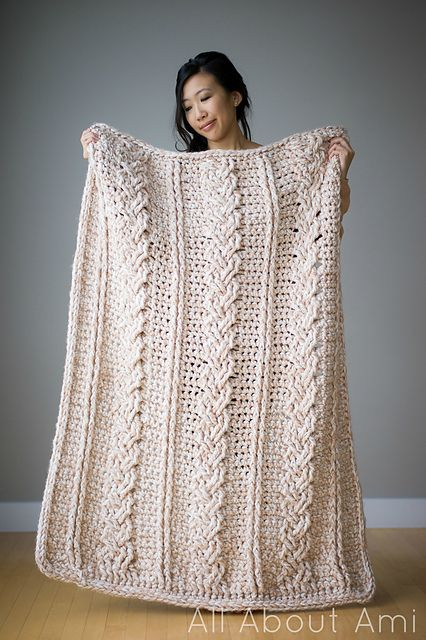 Free Crochet Pattern Chunky Braided Cable Throw Crocheted
