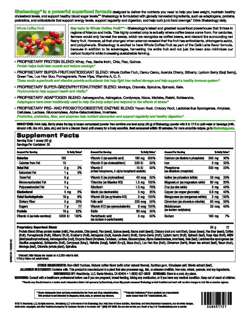 shakeology cafÉ latte supplement facts - if interested in ordering