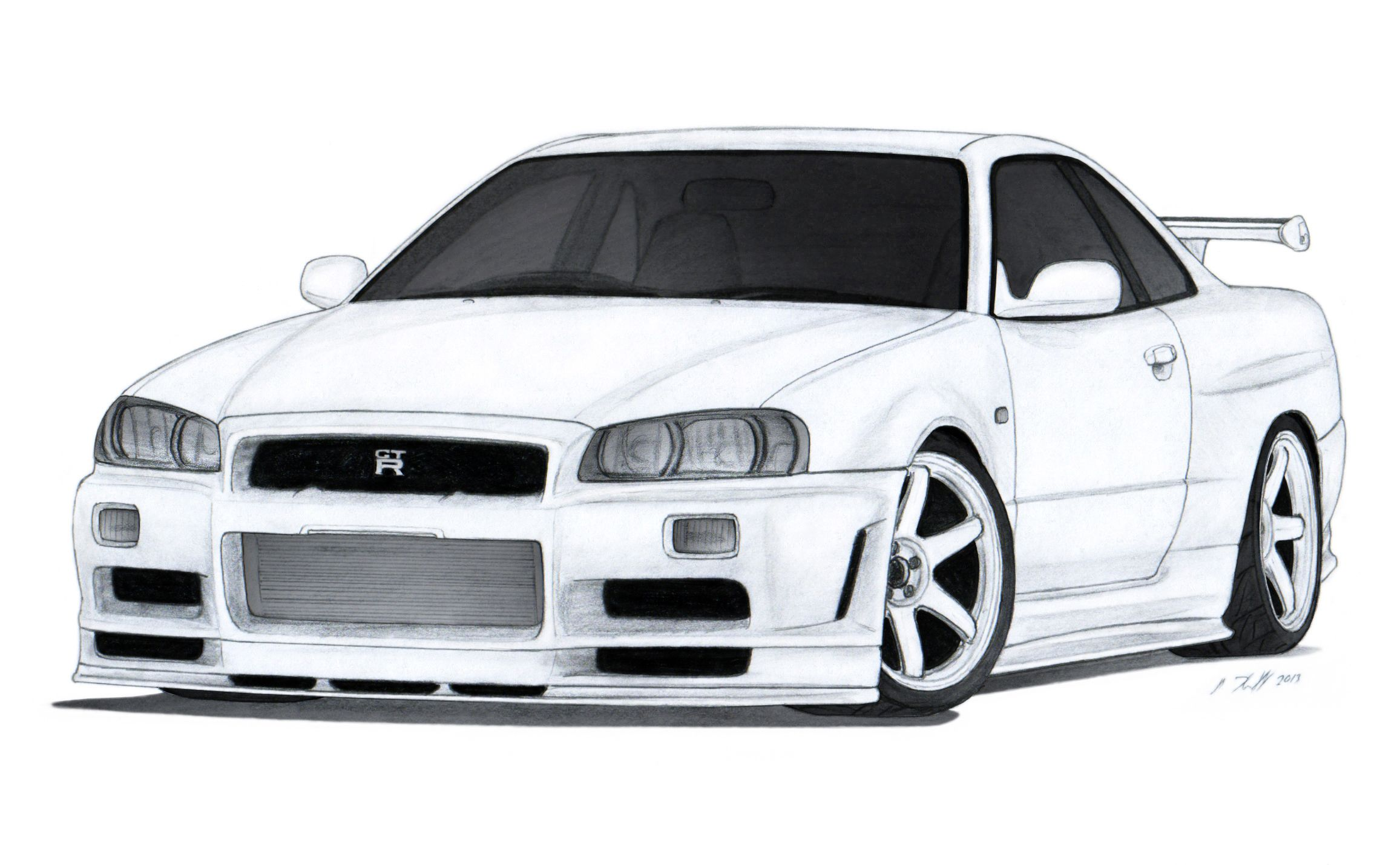 Nissan Skyline GT-R R34 Drawing by Vertualissimo.deviantart.com on ...