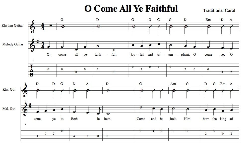 Easy Holiday Songs For Guitar Oh Come All Ye Faithful Chords