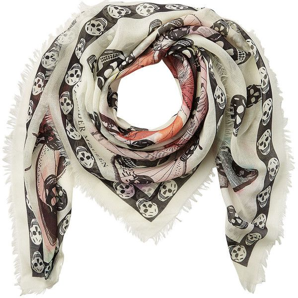 Alexander McQueen Printed Scarf (4,910 MXN) ❤ liked on Polyvore featuring accessories, scarves, multicolor, leather scarves, alexander mcqueen, skull scarves, leather shawl and leather fringe shawl