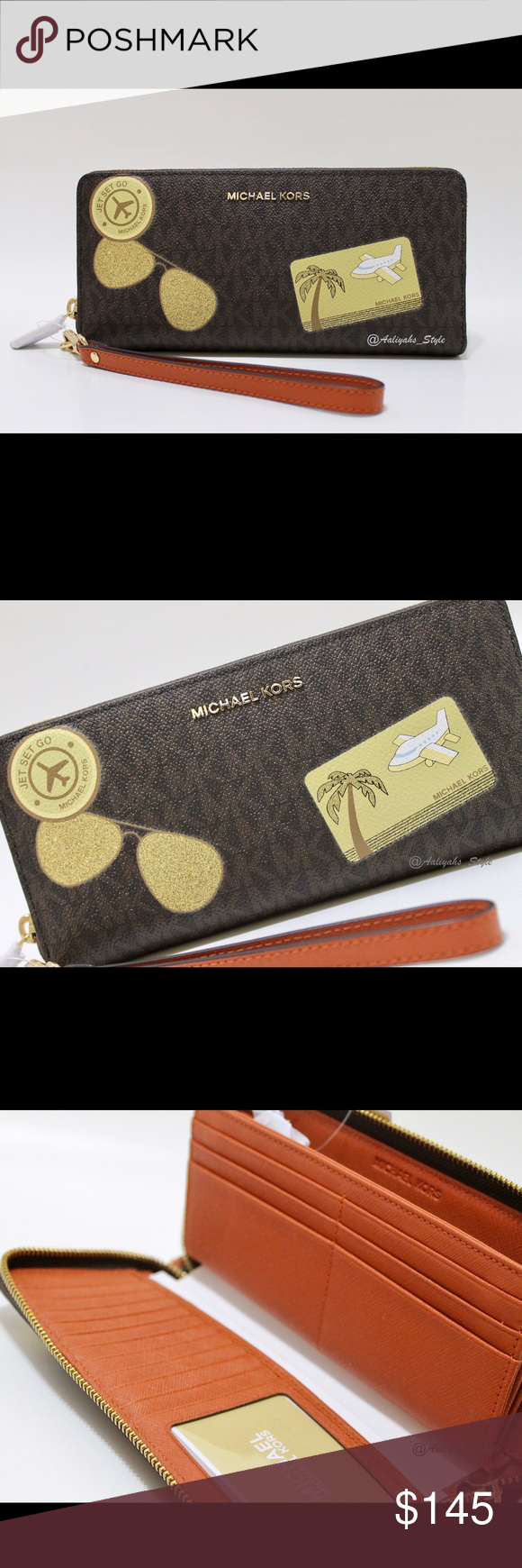 bc9ce7161e96 Michael Kors Illustrations Fly Away Travel Wallet MICHAEL Michael Kors  Illustrations Fly Away Travel Continental Wallet 100% Authentic Color: Brown  / Orange ...