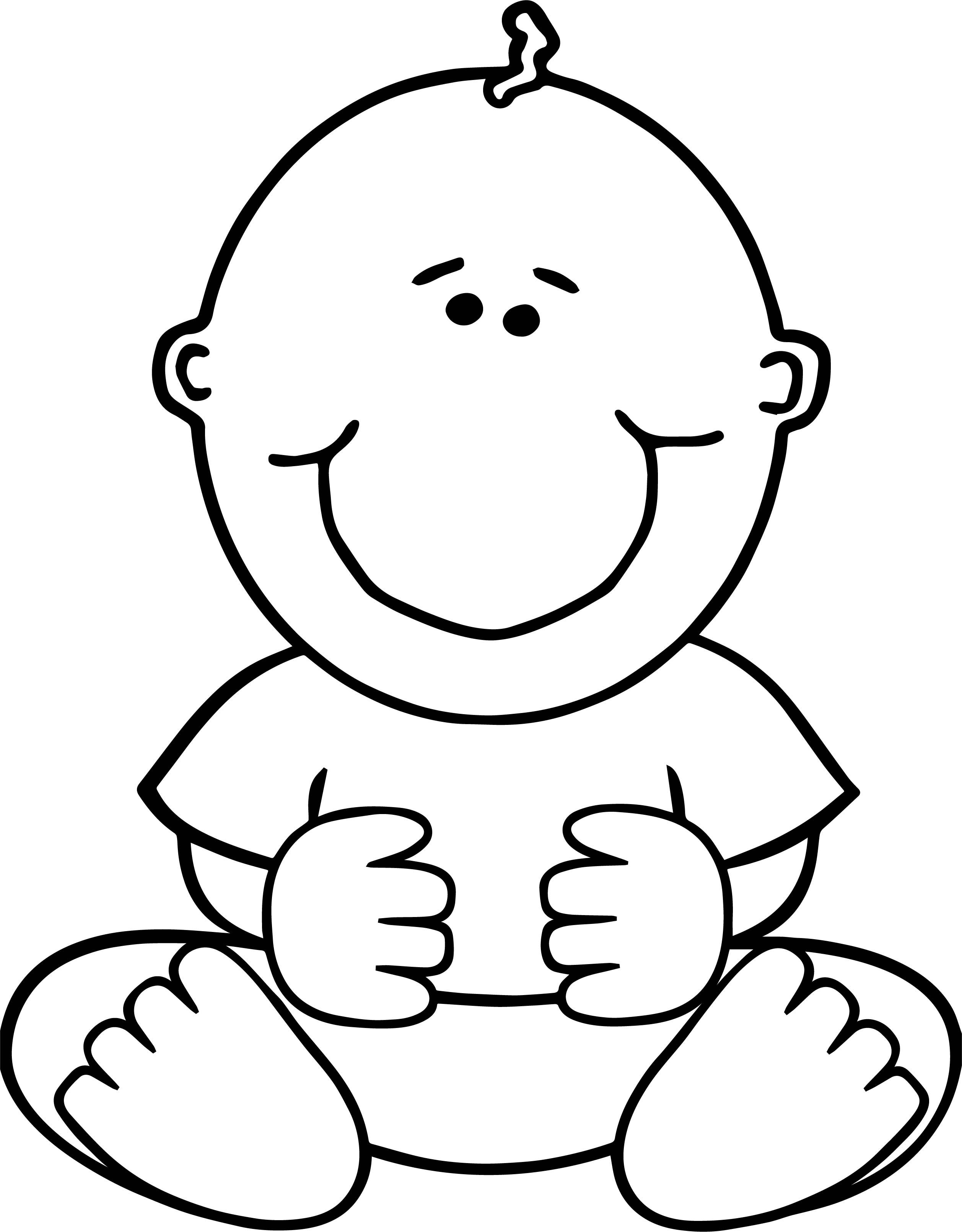 Awesome Sitdown Baby Boy Coloring Page