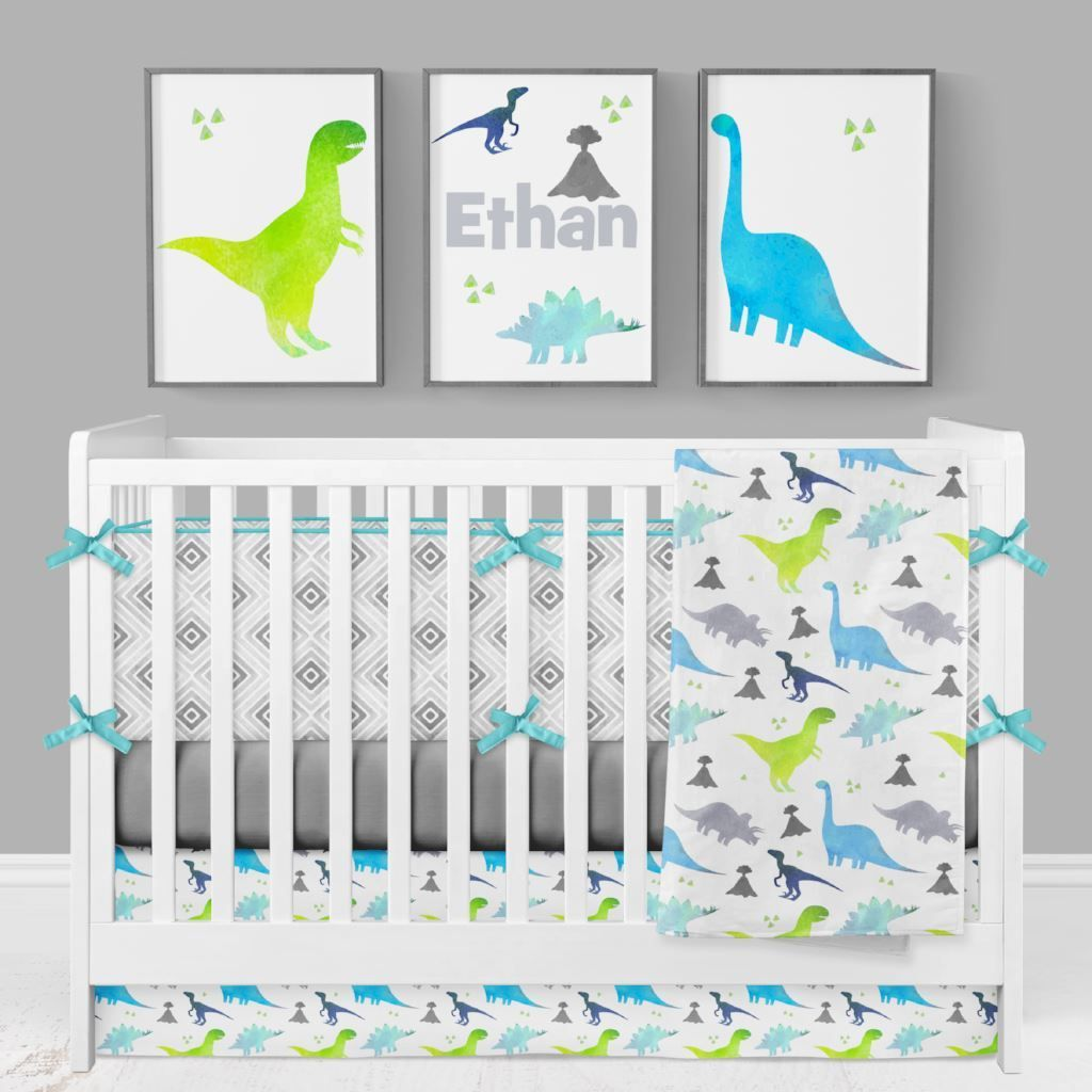 Bright Dinosaur Crib Bedding (4 Pcs: Bumpers, Sheet, Skirt, Minky Blanket)