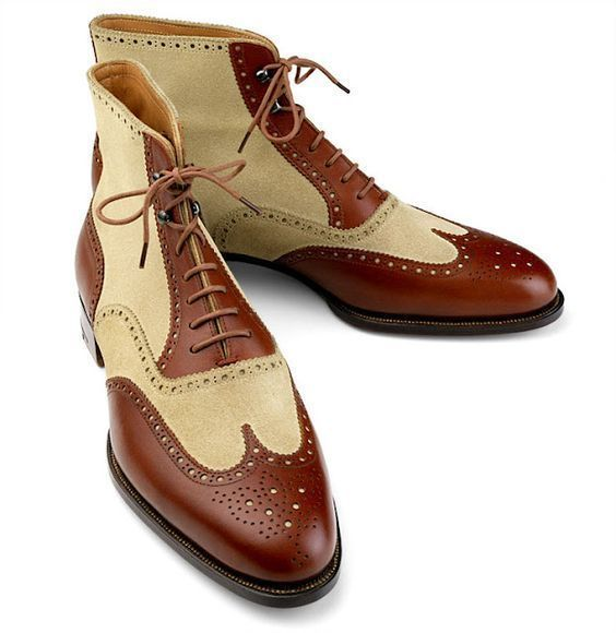 Handmade Maroon Ankle High Boots Leather Wing Tip Chukka