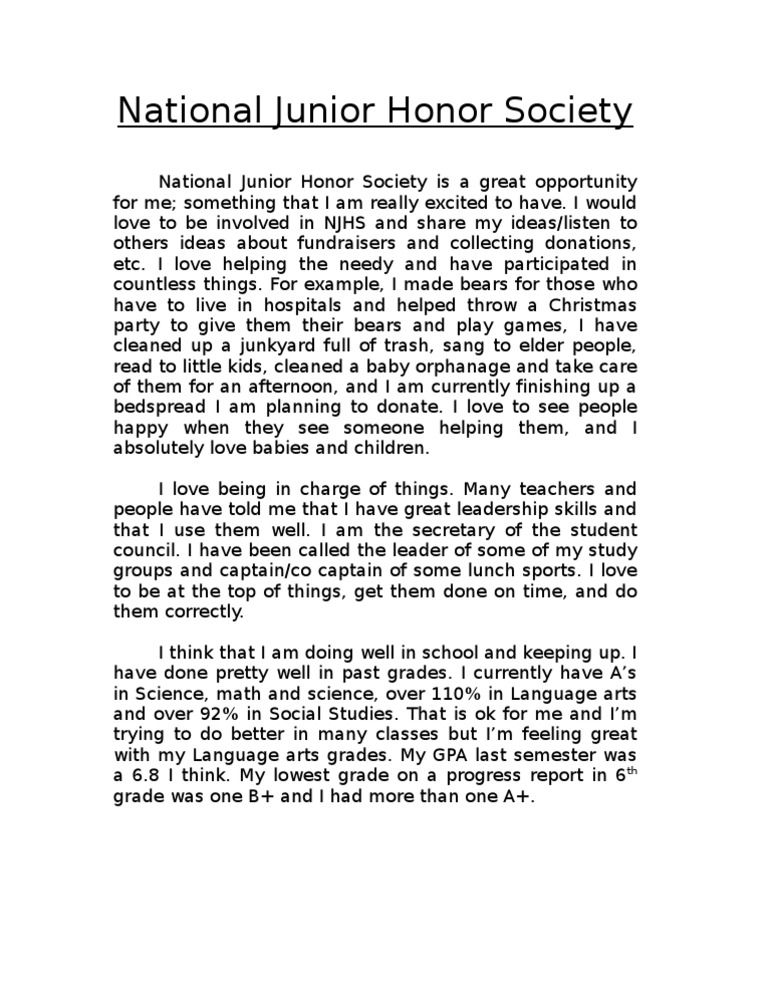 njhs letter of recommendation sample