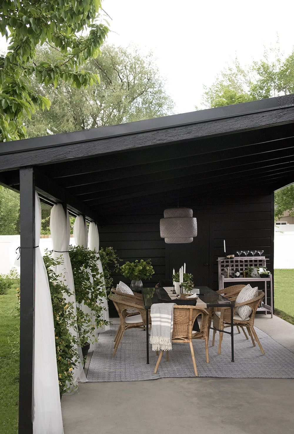 Painted Carport Makeover Room For Tuesday Blog Carport Makeover Outdoor Living Space Design Outdoor Curtains