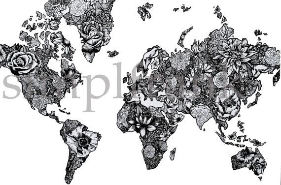 carte du monde noir et blanc design Carte du monde en noir et blanc par simplyfrank sur Etsy | Floral