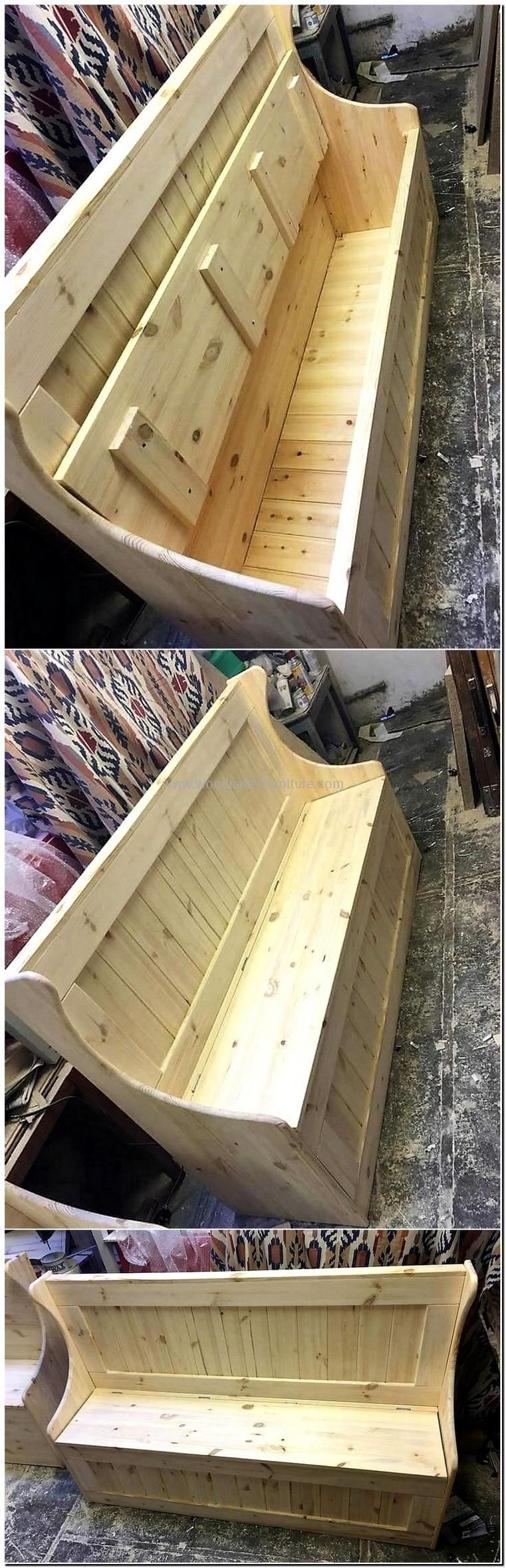 recycled pallet bench with storage #woodworkingbench ...