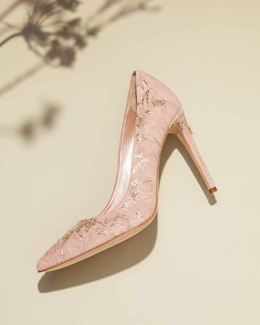 Meadow Pale Pink High Heel Wedding Shoe In Covered With Gold Embroidery Emmy London S New Meadow Dreami Wedding Shoes Heels Pink Wedding Shoes Wedding Shoes