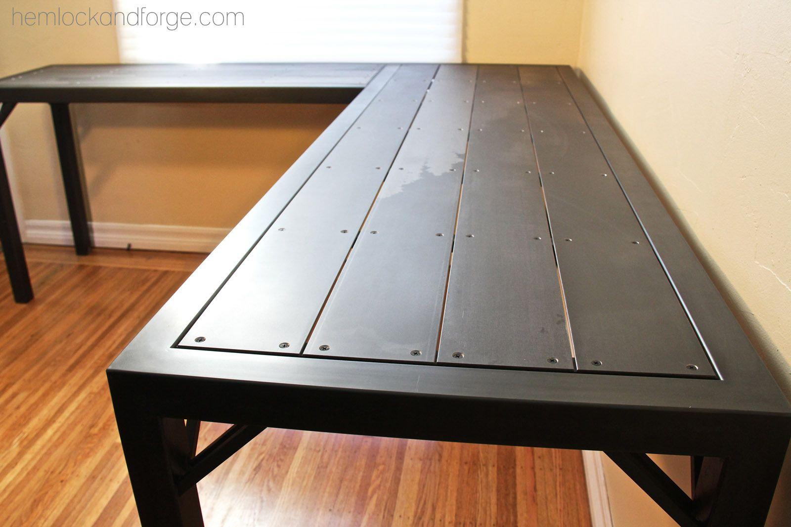 Industrial office table. All steel construction. Black