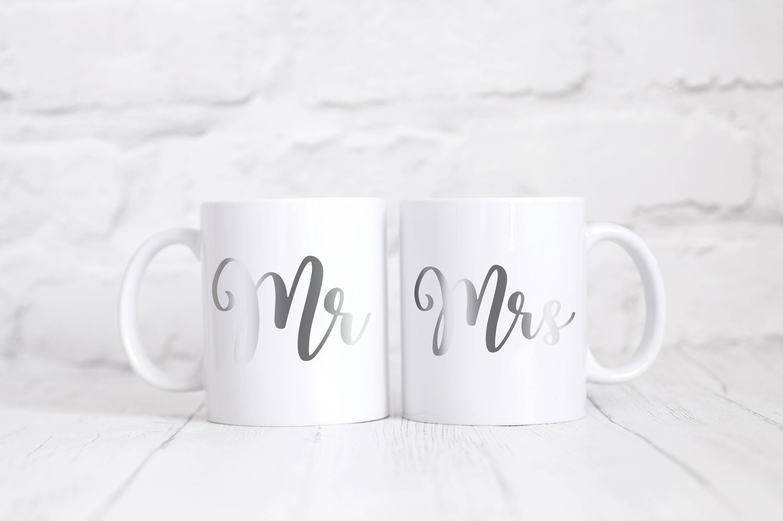 Mr Mrs Mug Set Silver Wedding Gift Coffee Mug Tea Mug Coffee