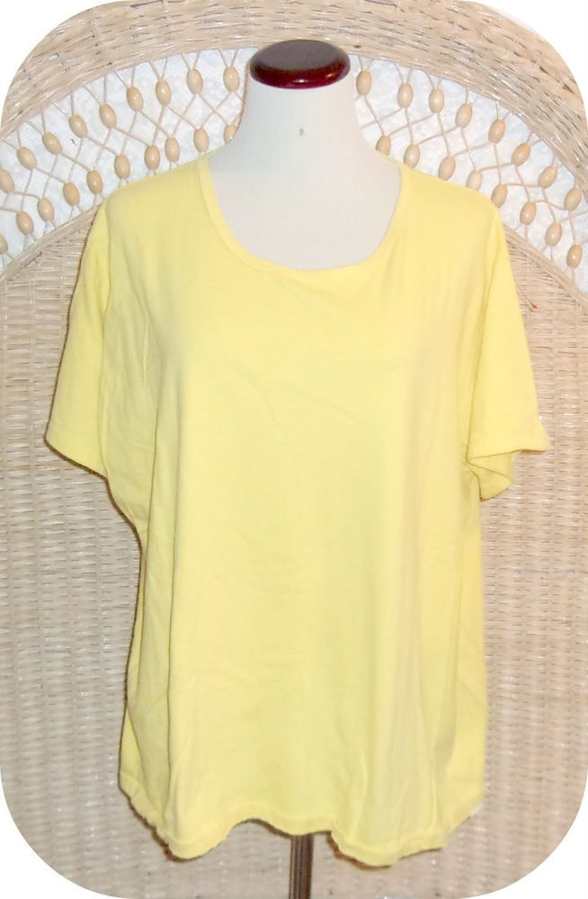 JUST MY SIZE Womens Top Plus Size 2X Yellow Short Sleeve Cotton  #JustMySize #KnitTop #CareerCasual