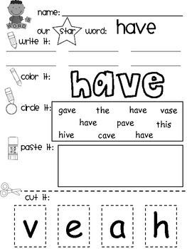 Sight word packet. Sight Word / Star Word / High Frequency