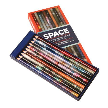 10 Two-Tone Pencils Featuring Photos from NASA Space Swirl Colored Pencils