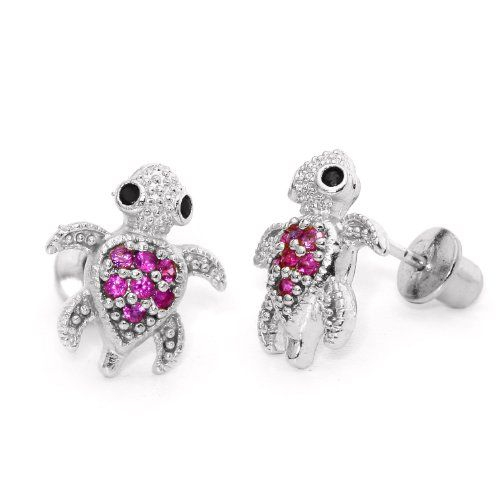 ruby earrings for babies 14k gold plated 925 silver children ruby turtle children 9470