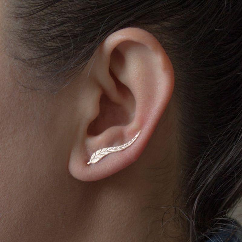 Boucle d'oreille femme feuille