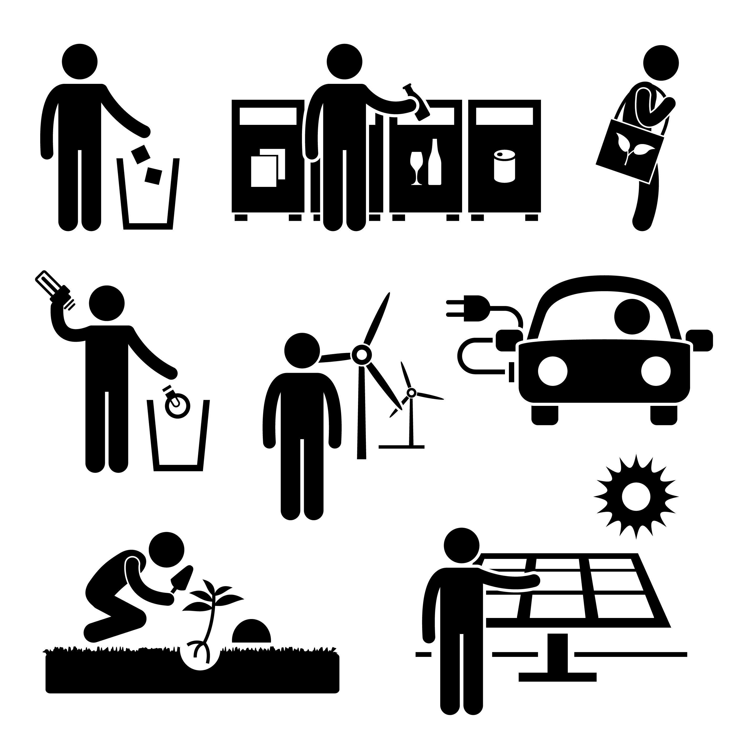 Man Recycle Green Energy Clean Environment Energy Saving Etsy In 2021 Pictogram Recycling Save Energy