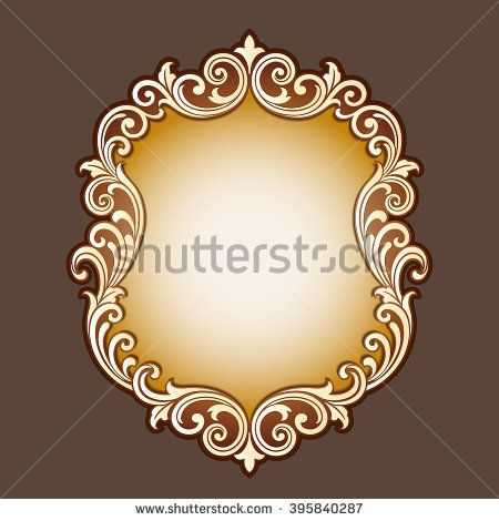 Vector vintage border frame logo engraving with retro ornament ...