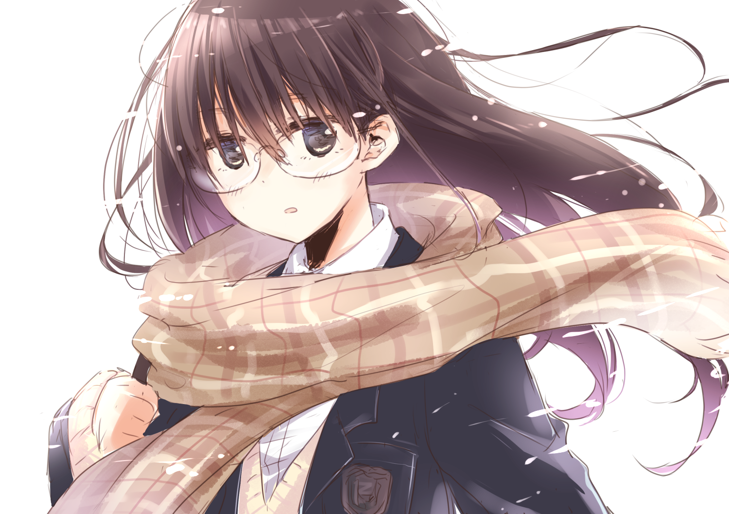 anime school girl with long brown hair anime original black eyes brown hair long hair glasses
