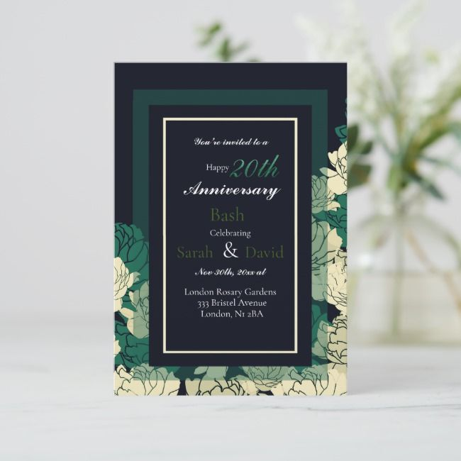 20th anniversary emerald green rose print card | Zazzle.com #20thanniversarywedding