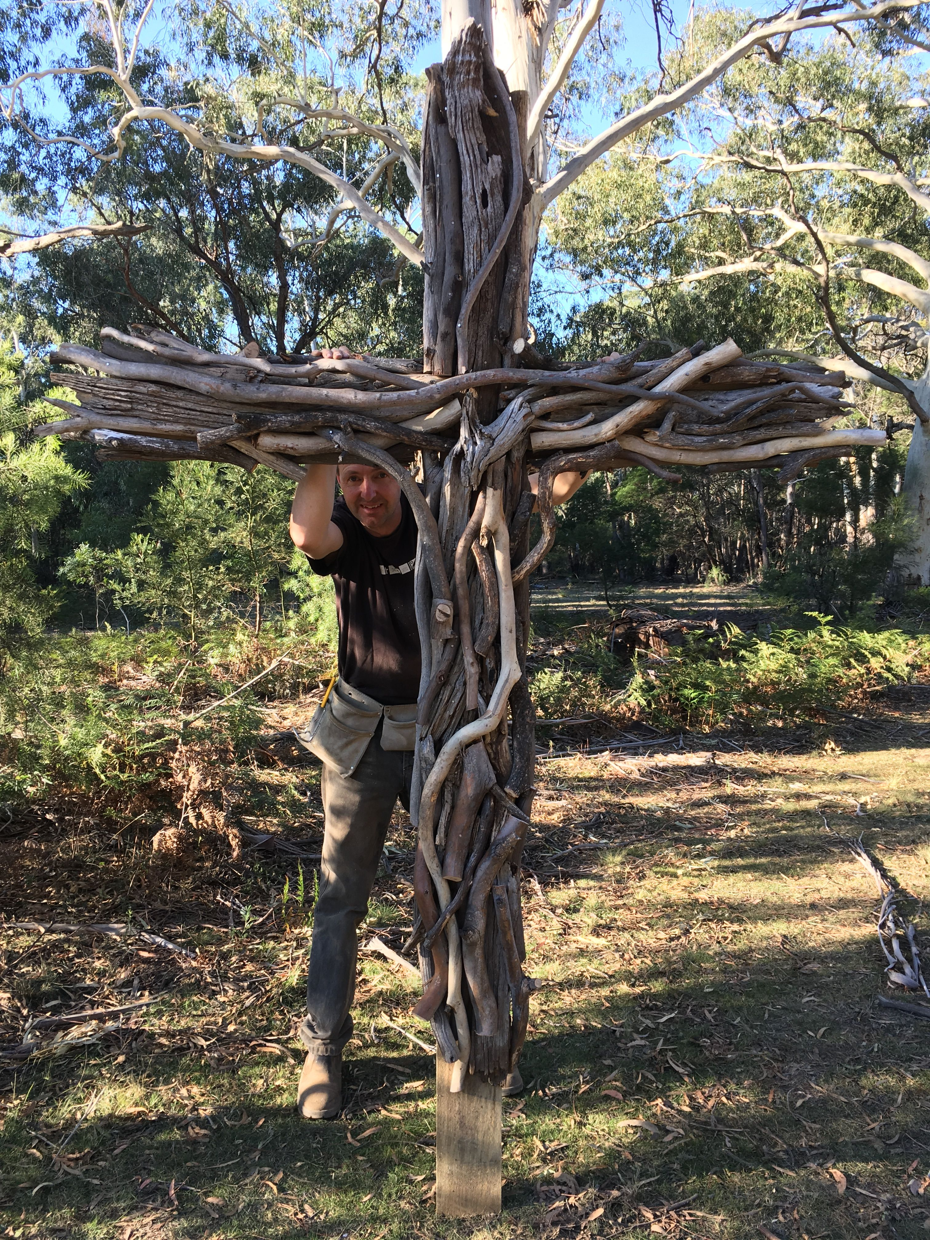 Photo of A large LifeSize cross we made from tree branches for our outdoor chapel! #cross…