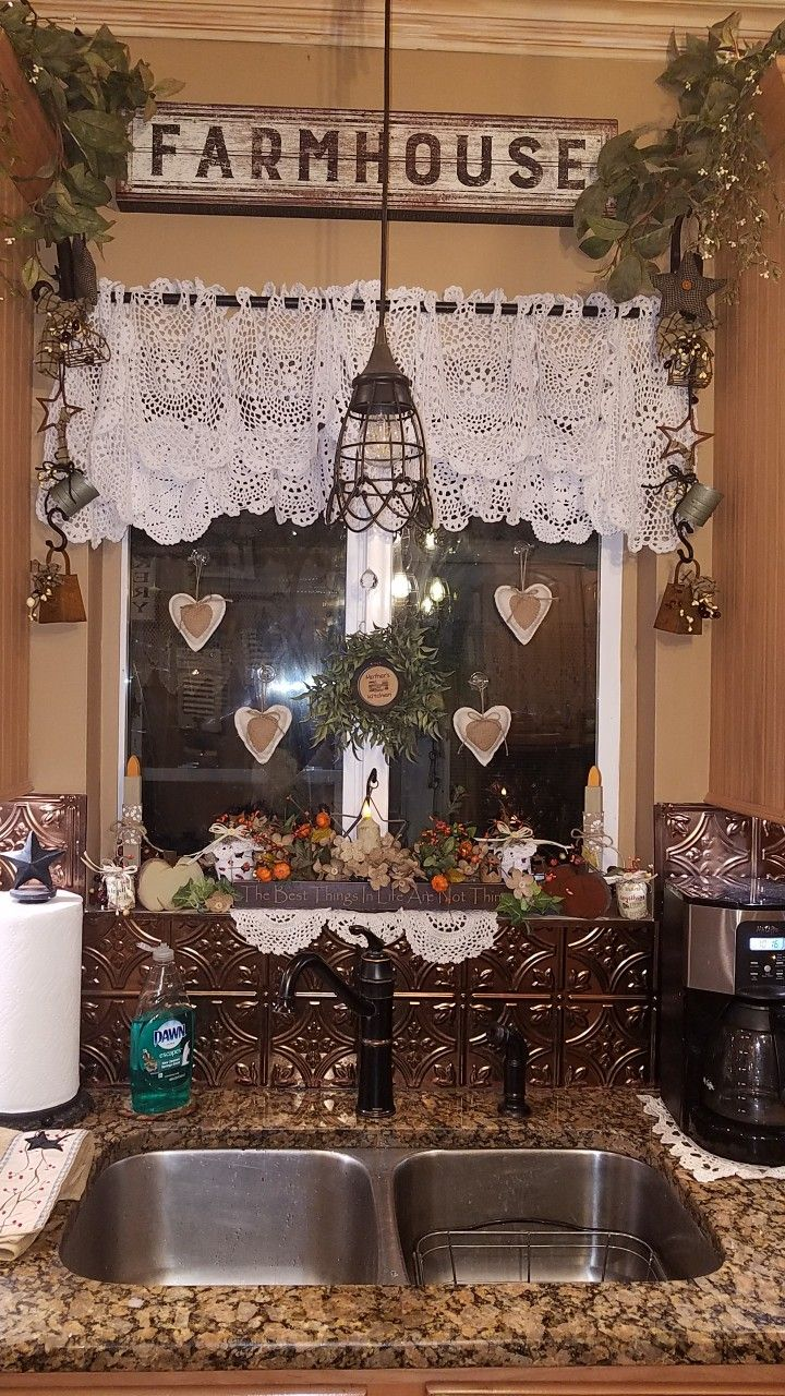 I love my new kitchen curtains I made from doilies ...