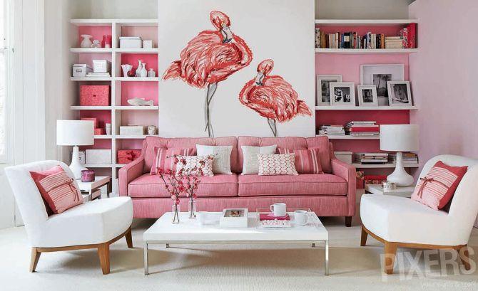 Flamingos • Sala de estar - Contemporâneo • Pixers® - Vivemos para ...