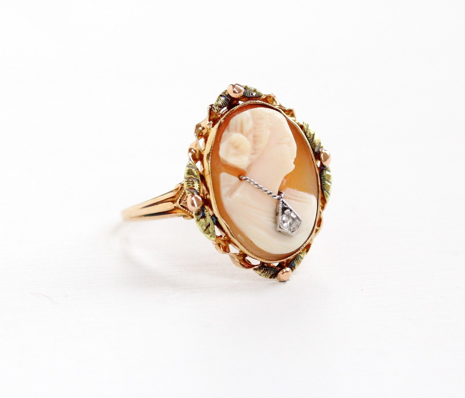 Sale Antique 10k Yellow & Rose Gold Diamond Cameo Ring Size 7