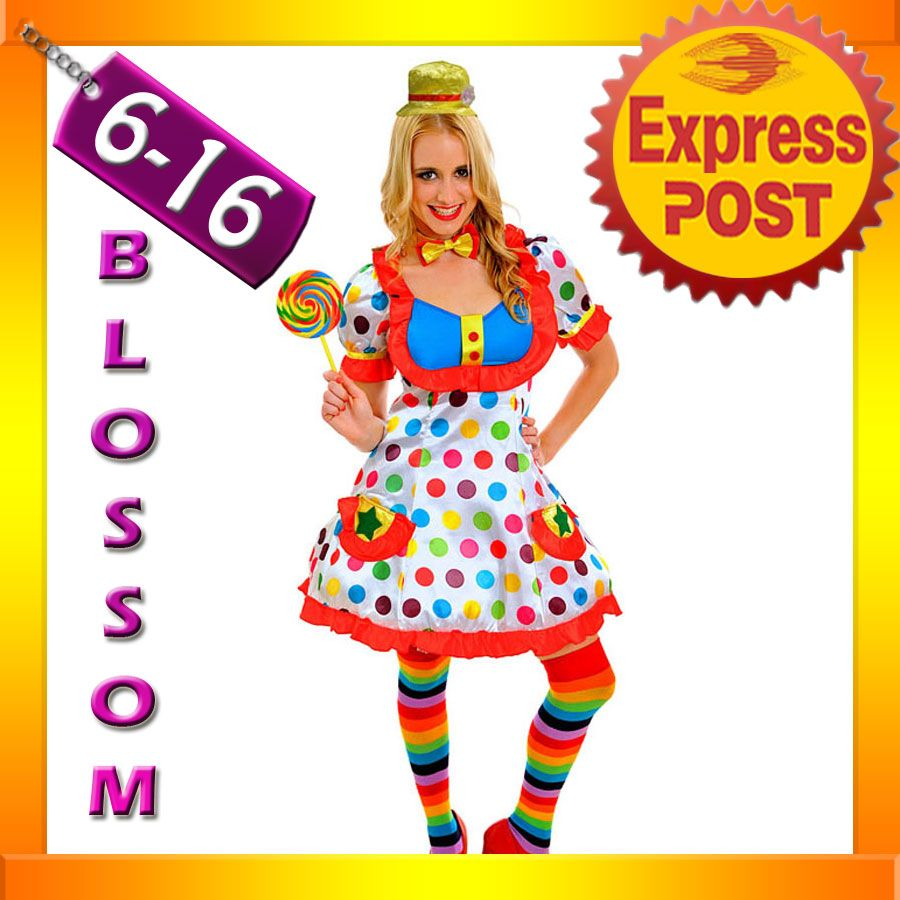 J79 Adult Funny Clown Costume Circus Carnival Fancy Dress Birthday Party Outfit