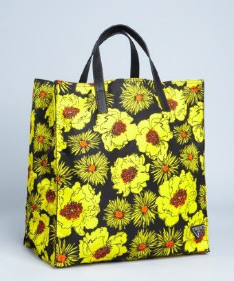 71f67b11a717 Prada yellow floral print nylon tote | BLUEFLY up to 70% off designer  brands at bluefly.com