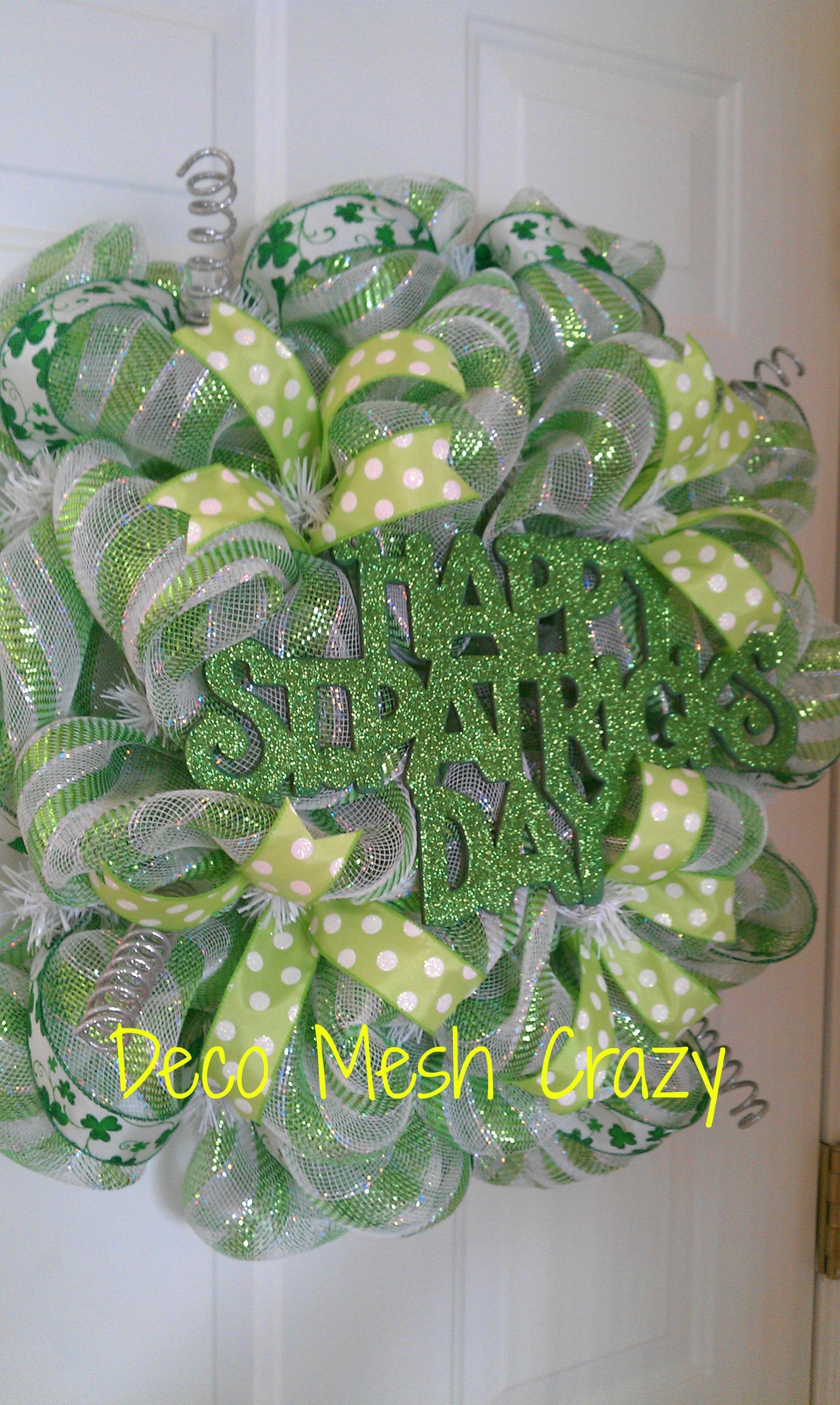 happy st patrick 39 s day deco mesh wreath st patrick 39 s day. Black Bedroom Furniture Sets. Home Design Ideas