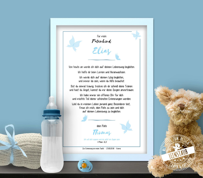 Patenbrief Taufkind Schmetterling Geschenk Taufe Der